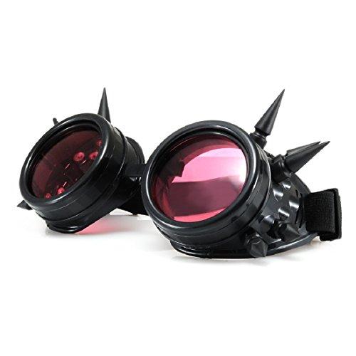 4sold (TM) Steampunk Antique Copper Cyber Goggles Rave Goth Vintage Victorian like Sunglasses all pictures (Schwarz mit Nieten)