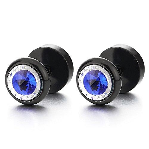 8MM Negro Círculo Pendientes con Azul Claveteado Piedras, Hombre Mujer Acero Enchufe Falso Fake Cheater Plugs Gauges