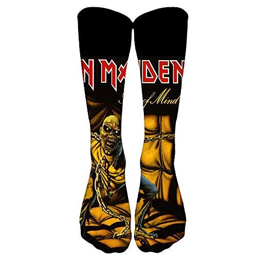 MNmkjgfgj Iron Maiden Calcetines de deporte Correr Movimiento de fitness hasta la rodilla calcetines transpirable elástico 3D de impresión a color Stocking Unisex (Color : A07, Size : 30cm-55g)