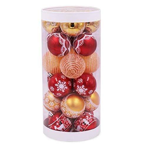 ACAMPTAR 24 Piezas Pintadas Mixtas Bolas de DecoracióN de áRboles de Navidad Ventana de Fiesta Muebles para el Hogar DecoracióN de Adornos de Bolas Colgantes de Navidad (Rojo Dorado)