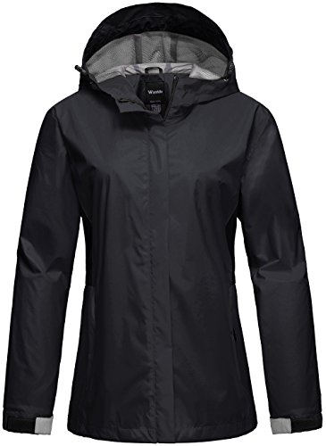 Wantdo Women's Soft Shell Rain Jacket Wind Block Out Wear Coat for Camping and Hunting Black M