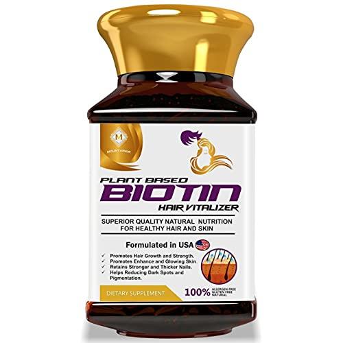 MOUNTAINOR Plant Based Biotin + Keratin Complex Hair Vitalizer, Helps Faster Hair Growth, Enhance Skin & Nails Health with Sesbania Agati, Bamboo Shoot, Amla,Brahmi. Natural & Safe 90 Veg Caps.