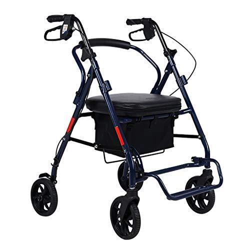 GWXTC Faltbarer Bollerwagen Alter Mann Klappwagen, Tragbarer Can Sit Walker Ruhesitz Einkaufswagen bewegen, Lebensmitteleinkaufswagen mit 4 Rädern, Belastung: 120 kg