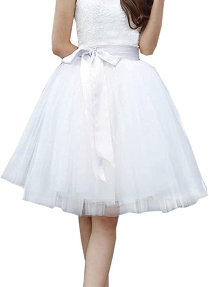 Women's XL Long Skirt, A-line Short Skirt, Tulle Long Skirt, Tulle Wedding Dress, Tulle Dress (Color : White, Size : Large)