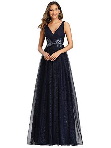 Ever-Pretty Vestido de Fiesta Largo Mujer Tul Lentejuelas Corte Imperio Apliques Escote V A-línea Azul Marino 44