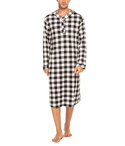 Schlafanzug Herren Lang Nachthemd Langarm Pyjama Karierte Große Nachtwäsche mit Knopfleiste Weiß Schwarz L für Männer