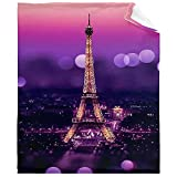 Ultra Soft Flannel Fleece Throw Blanket Paris Eiffel Tower All Season Warm and Cozy Quilt Blanket for Bed Sofa Couch 80'X60'for Adult