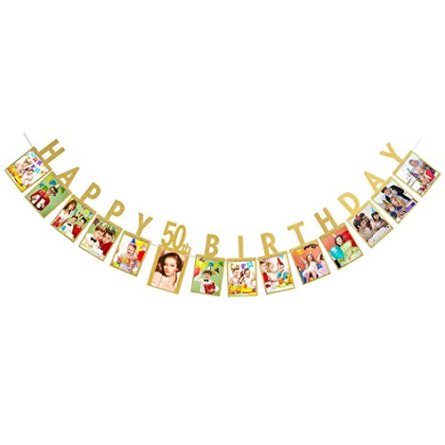 Dusenly Gold Happy 50th Birthday Photo Banner Photo Props Bunting Garland for 50th Birthday Party Decorations