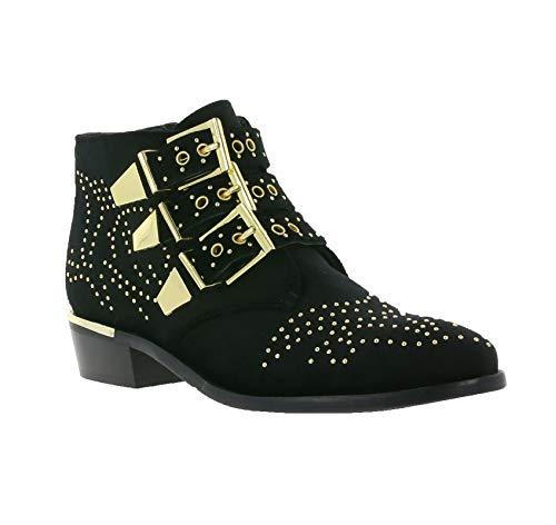 Bronx Boots im Cowboy Look samtige Damen Nieten Stiefelette Schuhe Stiefel Schwarz,...