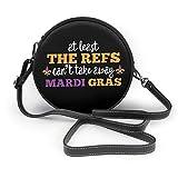 WILHJGH Can 't Take Away Mardi Gras Classic Round Shoulder Bag Crossbody Bolso de cuero