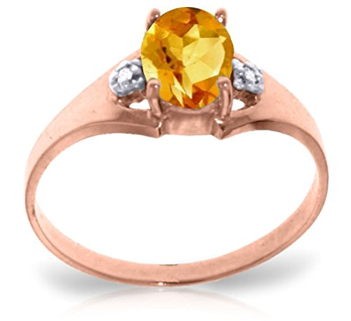 Galaxy Gold 0.76 Carat 14k Solid Rose Gold Ring with Genuine Diamonds and Natural Oval-Shaped Citrine - Size 8