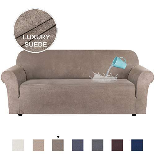 H.Versailtex, Copridivano in velluto elasticizzato per divano a 1/2/3 posti, idrorepellente, vari colori, Pelle & scamosciato, Tortora, 3 Seater:173-245cm