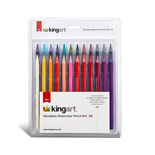 KingArt PRO Woodless Watercolor Pencils, 24 Count (Pack of 1), Unique Colors