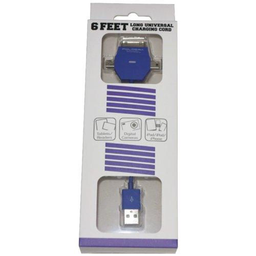 Poldera CC6TRI-PUR 6-Feet Candi Cord Tri-Connector for All Smartphones - Retail Packaging - Purple