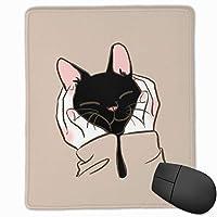 あなたの手の中の黒い猫 マウスパッド ゲーミングマウスパッド ラップトップマット pcマウスパッド リストレスト ラバーマット 滑り止め 耐久性 高級感 25*30