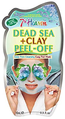7th Heaven Dead Sea Clay Easy Peel Off Face Mask with Kaolin Clay and Seaweed for Deep Pore Cleansing, Normal, Combo and Oily Skin