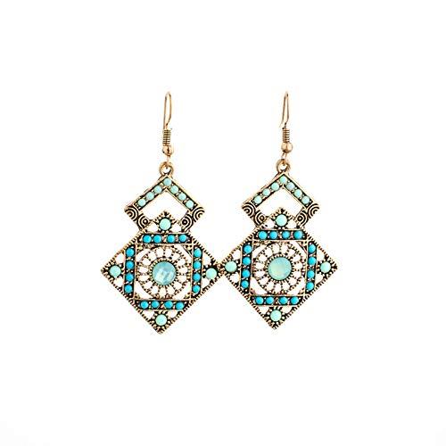 xingguang Pendientes de aleación étnico rombo para mujer, joyería de moda geométrica, vintage gitano, bohemio, (color de metal: estilo 3)