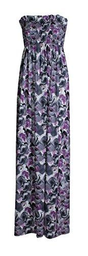 Fast Fashion Damen Maxi Kleid Azteken Tribal Tierleoparddruckscher Boobtube, Schiefergrau, EUR 40-42