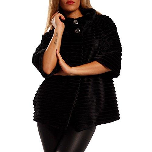 Damen Jacke Bolerojacke Umhang Stola 3/4-Arm Fellimitat, Farbe:Schwarz;Größe:One Size