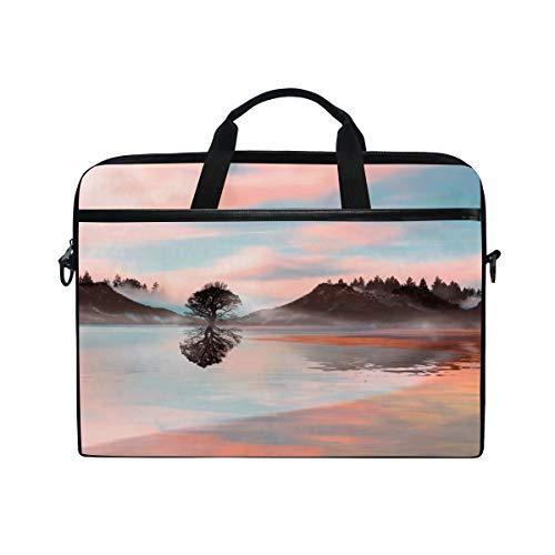LOSNINA 15-15.4 inch Laptop Tasche,Schöne Landschaft der Illustration 3D während des Sonnenuntergangs,Neue Leinwand Drucken Muster Aktentasche Laptop Schulter Messenger Handtasche Case Sleeve