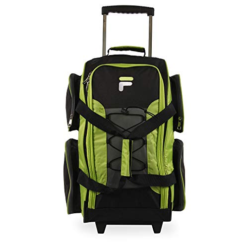 """Fila 22"""" Lightweight Carry On Rolling Duffel Bag, Neon Lime, One Size"""
