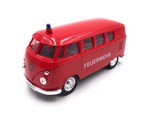 Onlineworld2013 Modellauto T1 Feuerwehr Bus Rot Auto Maßstab 1:34-39 (lizensiert)