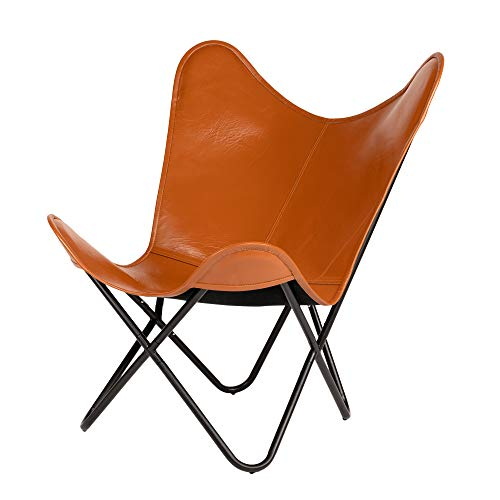 Elegant Genuine Leather Living Room Knock Down Home Butterfly Chair, MS Stand Chair, Comfortable Chair