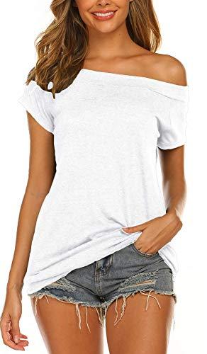 Lalala Camiseta larga para mujer, parte superior elegante, sin hombros, manga corta/manga larga A-blanco. L
