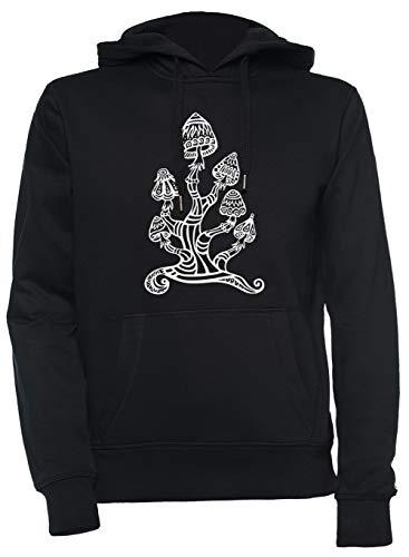 Luxogo Magie Pilze, Pflanzen Von Das Götter, Psychedelisch, Trance Goa PSY Unisex Schwarz Kapuzenpullover Sweatshirt Herren Damen Unisex Black Jumper Men's Women's XL