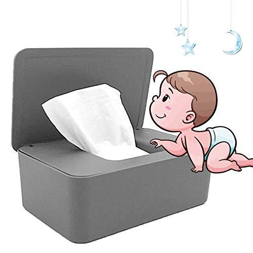 Feuchttücher-Box,Baby Feuchttücherbox,Tissue Aufbewahrungskoffer, für trockene und nasse Seidenpapier, Serviettenhalter, Feuchttücher, Spenderhalter mit Deckel für Zuhause und Büro (grau)