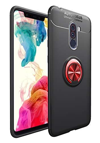 SORAKA Cover per Xiaomi Pocophone F1 con Anello Rotante a 360 Gradi,Custodia in Silicone Morbido Cover Anti-Impronta Ultrasottile con Piastra Metallica per Supporto Auto Smartphone Magnetico