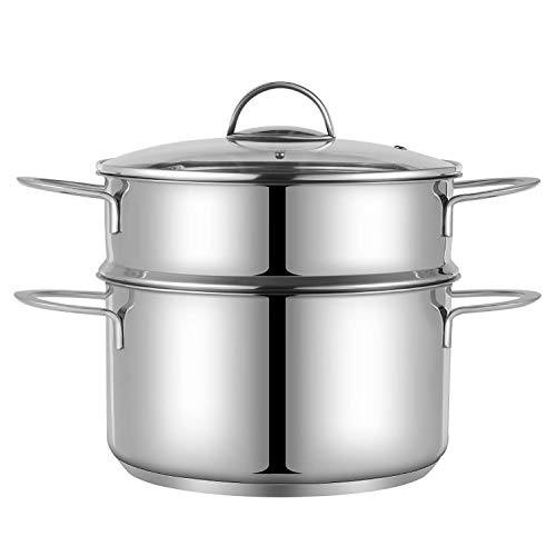 Mr. Right Stainless Steel Vegetable Steamer Pot,9.5 inch 5 Quart Saucepot with Glass Vented Lid,3 Piece Set, 2 Tier Steaming Cookware Includes 6Qt Cooking Pot, 3Qt Steamer Insert