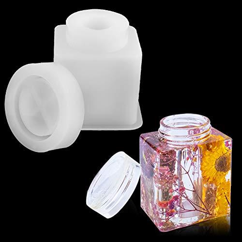 Moldes de Resina de Silicona, Molde de Resina de Botella, Molde de Caja de Almacenamiento, Botella de Almacenamiento de Resina contenedor de Resina de Silicona epoxi moldes para Bricolaje de Joyas