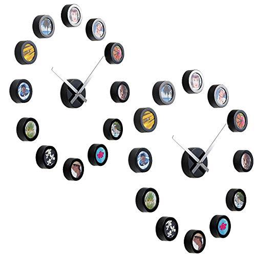 Preisvergleich Produktbild infactory Bilderrahmen-Wanduhr: 2er-Set Wanduhr zum Selbstgestalten mit Zifferblatt aus 12 Bildern (Foto-Wanduhr)