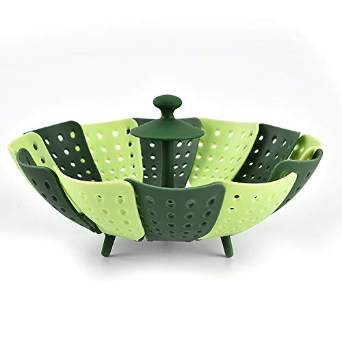 Lotus Steamer, utilisé pour cuire à la vapeur les aliments et le pliage de légumes, pas de rayures, pas de BPA, vert