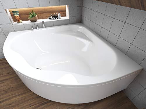 BADLAND Eckbadewanne Wanne Badewanne 150x150 mit Acrylschürze, Füßen und Ablaufgarnitur GRATIS