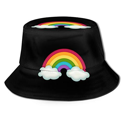 LBTD Arco Iris Em Png Chuva De Amor Hüte Vintage Canvas Fischerhut Damen Sonnenhut