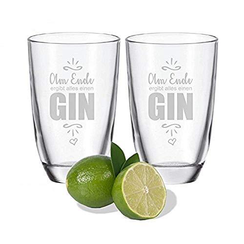 4you Design 2er Set Gin-Gläser Am Ende ergibt Alles einen Gin- tolle Geschenkidee - für Partygänger - Gin Tonic Geschenkset - Geburtstagsgeschenk