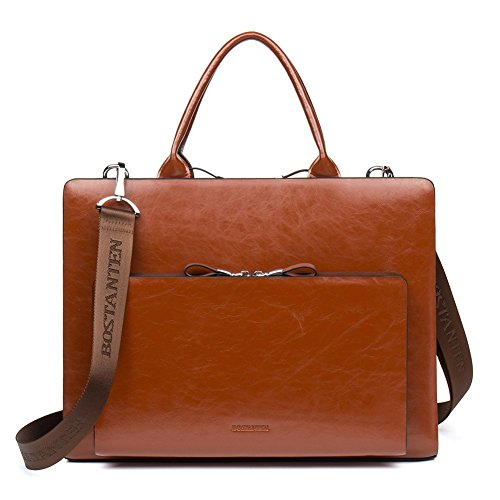 BOSTANTEN Mens Leather Briefcase Handbags 15 Inch Laptop Bag Vintage Business Shoulder Bags Slim Office Work Bag Brown