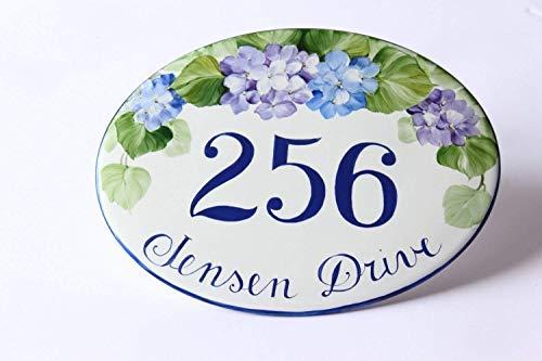 Har3646vey 30x40 cm blau Hortensien Hausnummernschild Adresse Keramik Fliese Hauseinweihungsgeschenk Wandschild Hausnummer Hausnummer Fliesen 861609