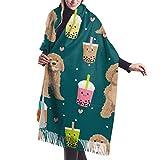 Beauty-Design Bufanda grande de cachemira suave para mujer, elegante, cómoda, bufanda de invierno, chal, chal, cavoodle burbuja té boba kawaii lindo patrón de cavernos verde oscuro