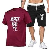 DREAMING-Deportes verano fitness hombres cuello redondo de manga corta transpirable moda jogging camiseta casual top + pantalones cortos traje de pantalones de cinco puntos S