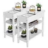 Beistelltisch Weiss 2er Set Telefontisch Holz Schmaler Nachtschrank Sofatisch mit 3 Ebenen für Wohnzimmer kleine Räume