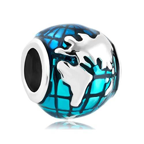 Poetic Charms 925 Sterling Silber Globus Charm Blaue Erde Welt Bead für Europäischen Armbänder Schmuck