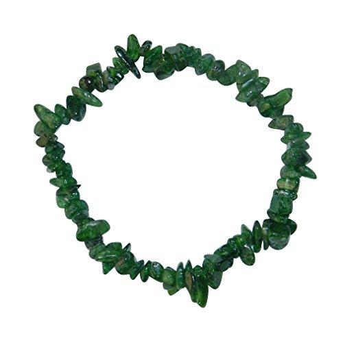 Diopsid grün Splitter Armband auf elastischem Gummi aufgezogen.(3546)