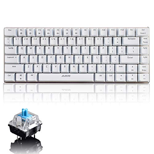 LexonElec Mechanical Keyboard Ajazz AK33 Wired Gaming Keyboard with Blue Switch,82-Key Mini Keyboard 100% Anti-Ghosting Easy Control with Metal Panel for Desktop Computer and Laptop(White No Light)