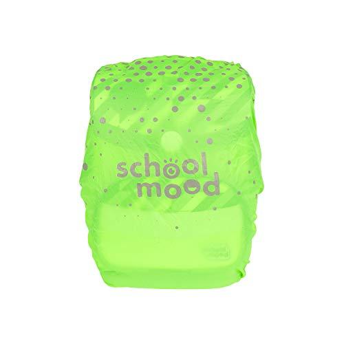 SCHOOL-MOOD Regenhaube - wasserdichter Regenschutz für Schulranzen & Rucksack (neongrün)