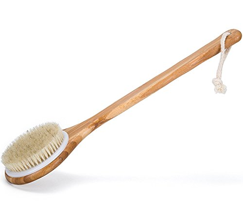 WINCAN Bath Dry Body Brush-Natural Bristles Back Scrubber With Long Handle Brushes for...