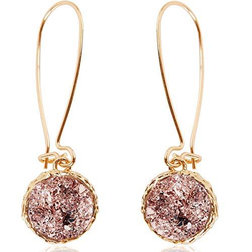 Humble Chic Simulated Druzy Threaders - Boho Glitter Upside-Down Long Hoop Dangle Drop Earrings for Women, Rose Stone with Gold-Tone, Metallic Pink, Gold-Tone, Bohemian