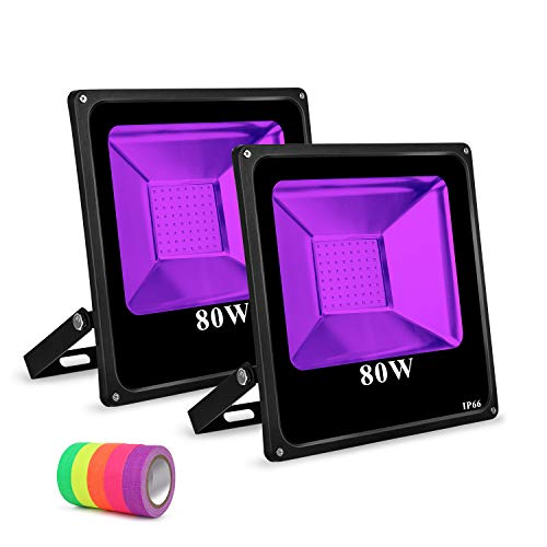 Roleadro Black Light 2 Pack Flood Light Bulb, 80w Led Floodlight Outdoor IP66 Waterproof Stage Light for Blacklight Party, 5 Fluorescent Neon Glow Gaffer Tape, Glow in Dark Party